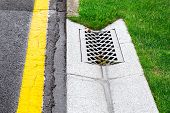 drainage system edge tray with concrete hatch for rainwater drainage into the sewer on side of tarmac road with a yellow marking and a green lawn. poster