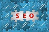 Search Engine Optimization Abstract vector puzzle background poster
