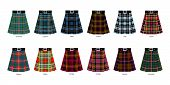 Images of kilts or skirts from some clan tartans. Simplified tartan pattern poster