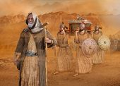 Biblical Moses leads the Isrealites through the desert Sinai during the Exodus, in the wilderness, in search of the Promised Land with the Ark of the Covenant, 3d render painting poster