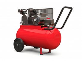 Red Horizontal Air Compressor Isolated On A White Background. 3d Illustration.