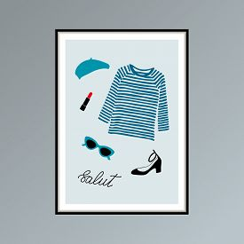 Poster With Beret, Striped Longlsleeve Shirt, Lipstick, Shoe And Hand Lettered Word Salut, Hello In