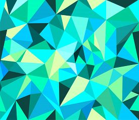 Abstract Geometrical Vector Background In Blue Tints.