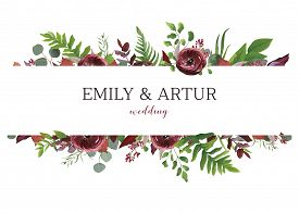 Wedding Invite, Invitation, Save The Date Card. Vector Floral Bouquet Frame Design: Red Garden Anemo