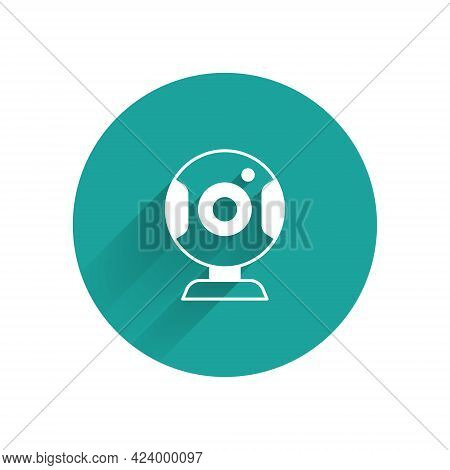 White Web Camera Icon Isolated With Long Shadow Background. Chat Camera. Webcam Icon. Green Circle B
