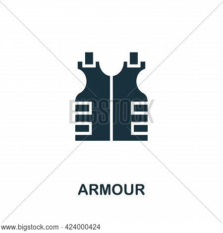 Armour Flat Icon. Colored Filled Simple Armour Icon For Templates, Web Design And Infographics