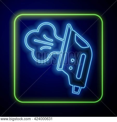 Glowing Neon Electric Iron Icon Isolated On Blue Background. Steam Iron. Vector