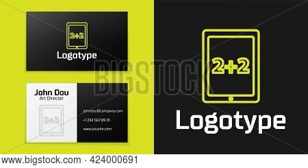 Logotype Line Calculation Icon Isolated On Black Background. Logo Design Template Element. Vector Il
