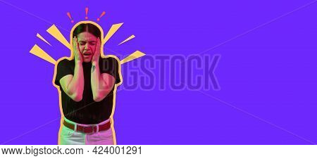 Screaming, Hate, Rage. Crying Emotional Angry Woman Screaming On Neon Studio Background. Emotional,
