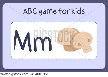 Kid Alphabet Mini Games In Cartoon Style With Letter M - Mushroom. Vector Illustration For Game Desi
