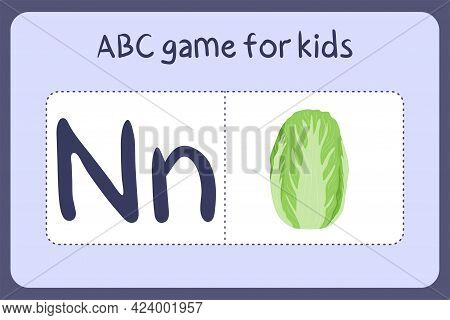 Kid Alphabet Mini Games In Cartoon Style With Letter N - Napa Cabbage. Vector Illustration For Game