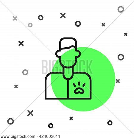 Black Line Veterinarian Doctor Icon Isolated On White Background. Vector