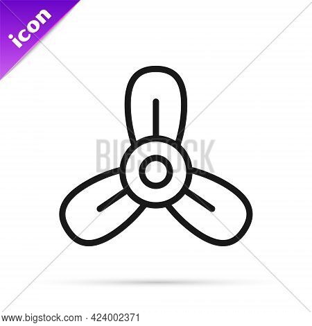 Black Line Boat Propeller, Turbine Icon Isolated On White Background. Vector