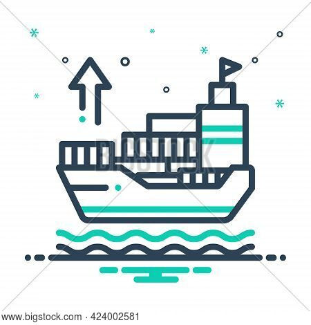 Mix Icon For Exporter Ship Shipping Sailing Export Transport Terminal