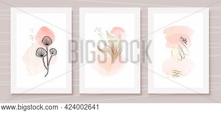 Orange And Peach Abstract Watercolor Compositions. Set Of Soft Color Painting Wall Art For House Dec