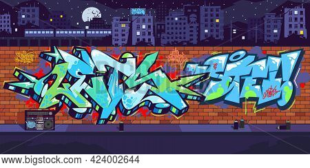 Outdoor Urban Graffiti Wall With Drawings At Night Against The