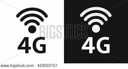 4g Network Technology Wireless Data Transmission, High-speed Internet. Icons Set