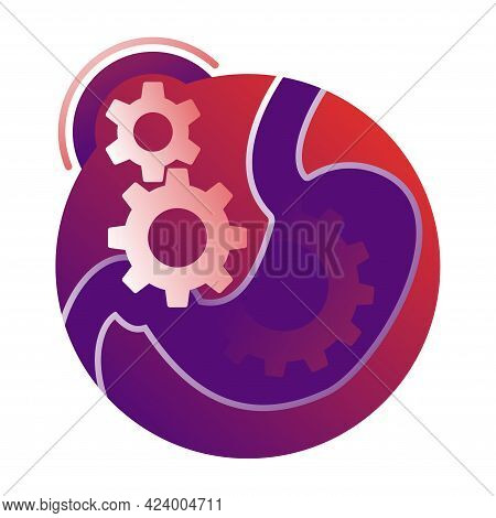 Digestive Laxative System Icon - Human Stomach Associated With Gears Mechanicm - For Gastro Medical
