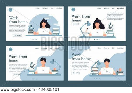 Freelance Work. A Set Of Websites. Customer Support Chat And Work From Home. Men And Girls At The Co
