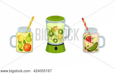 Smoothie In Blender And Jar With Straw With Different Ingredients Mixing Together Vector Set
