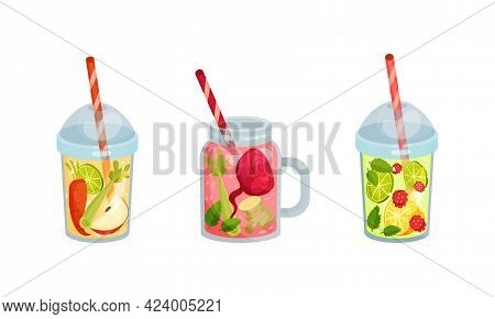 Smoothie In Glass And Jar With Different Ingredients Mixing Together And Straw Vector Set