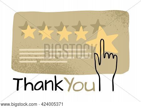 Thank You For Feedback Motivational Illustration. Five Rating Stars Collecting Into Positive Feedbac
