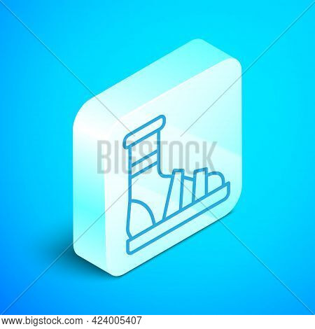 Isometric Line Slippers With Socks Icon Isolated On Blue Background. Beach Slippers Sign. Flip Flops