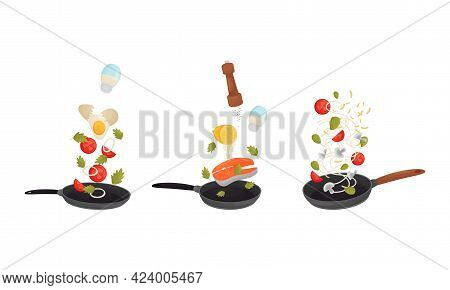 Food Preparation With Floating Salmon Steak And Vegetables Cooking On Frying Pan Vector Set
