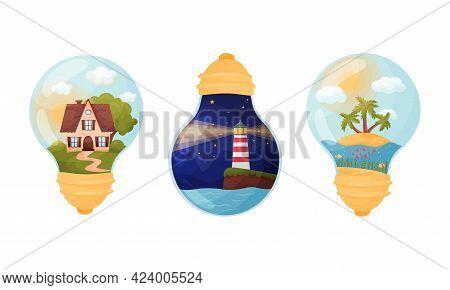 Picture Inside Glass Light Bulb As Creative Souvenir Vector Set