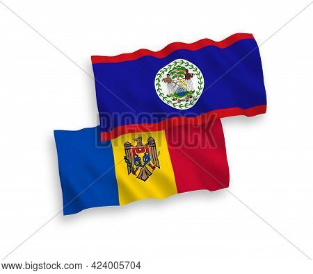 National Fabric Wave Flags Of Belize And Moldova Isolated On White Background. 1 To 2 Proportion.