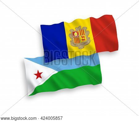 National Fabric Wave Flags Of Republic Of Djibouti And Andorra Isolated On White Background. 1 To 2