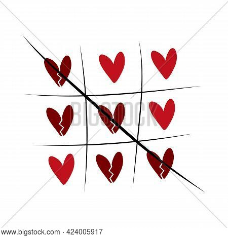 Game Of Tic-tac-toe From Hearts. Love Romantic Concept For Valentine's Day. Color Illustration, Tic