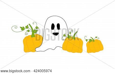 Concept For Halloween - White Ghost With Orange Pumpkins. Can Be Used As Festive Halloween Decoratio