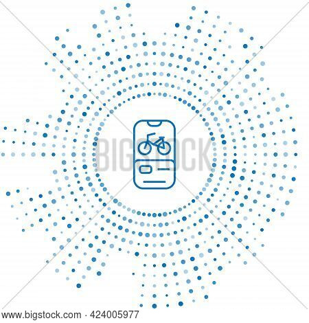 Blue Line Bicycle Rental Mobile App Icon Isolated On White Background. Smart Service For Rent Bicycl