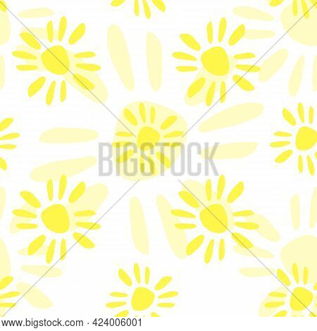Simple Seamless Pattern Of Yellow Suns, Flowers, Summer Texture, Vector Floral Print. Seamless Yello