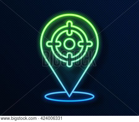 Glowing Neon Line Target Sport Icon Isolated On Blue Background. Clean Target With Numbers For Shoot