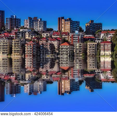 View Of Sydney Harbour Apartments In Sydney And Building Shadows In The Water