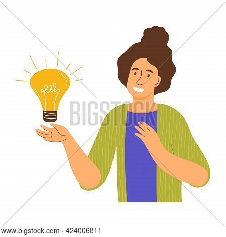 Young Happy Woman With A Light Bulb, Symbol Of The Beginning Of A New Creative Idea. Having Idea, Pr