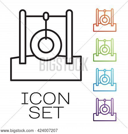 Black Line Car Tire Hanging On Rope Icon Isolated On White Background. Playground Equipment With Han