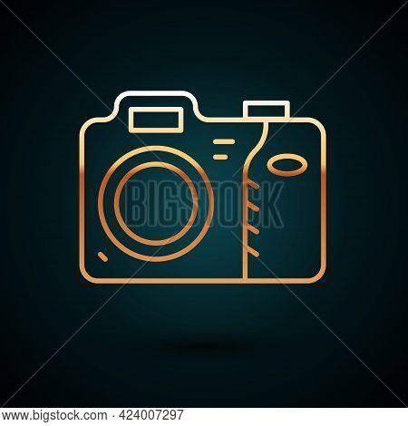 Gold Line Photo Camera Icon Isolated On Dark Blue Background. Foto Camera Icon. Vector