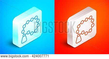 Isometric Line Rosary Beads Religion Icon Isolated On Blue And Red Background. Silver Square Button.