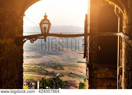 Volterra, Tuscany, Italy. August 2020. In The Historic Village An Amazing Glimpse Of The Panorama Of