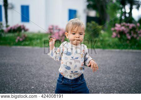 Kid Is Kneeling On The Asphalt Near Flowering Bushes