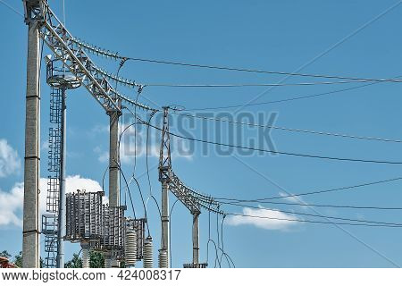 High Voltage Electrical Transformers In An Electricity Distribution Power Plant. High Voltage Power