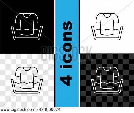 Set Line Plastic Basin With Shirt Icon Isolated On Black And White, Transparent Background. Bowl Wit