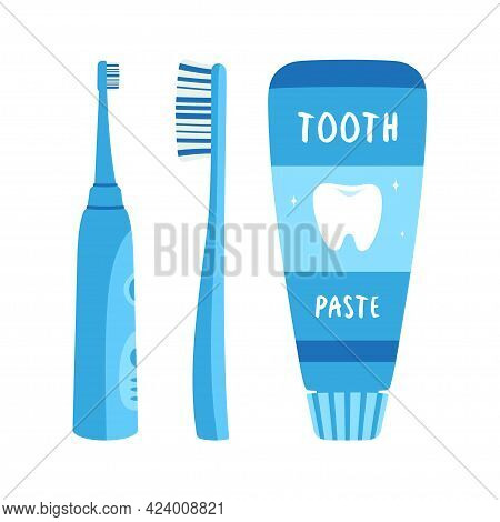 Set Of Electric And Handle Toothbrush With Tube Of Toothpaste Isolated On White Background, Vector F