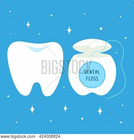 Set With Cartoon Tooth And Dental Floss, Oral And Teeth Care, Floss And Tooth Isolated On Blue Backg