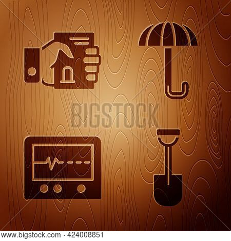 Set Shovel, Death Certificate In Hand, Beat Dead In Monitor And Umbrella On Wooden Background. Vecto