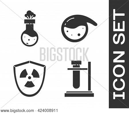Set Test Tube Flask On Stand, Test Tube And Flask Chemical, Radioactive In Shield And Test Tube And