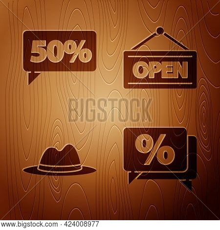 Set Discount Percent Tag, Fifty Discount Percent Tag, Man Hat With Ribbon And Hanging Sign With Open